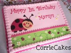 Lady Bug sheet iced in BC with MMF decorations Square Birthday Cake, Birthday Sheet Cakes, Cookie Cake Birthday, Birthday Cake Girls, First Birthday Parties, First Birthdays, Birthday Bash, Birthday Ideas, Happy Birthday