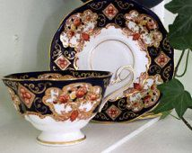 SALE- Vintage Royal Albert Bone China England Heirloom  pattern -excellent condition Imari cobalt blue gold red white cup and saucer 1960s