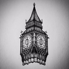 Big Ben Clock In Skull Shape Tattoo Design