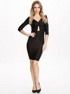 Black Half Sleeve Bow Bodycon Dress