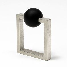 Geoffrey D. Giles architectural square ring in silver and black onyx.