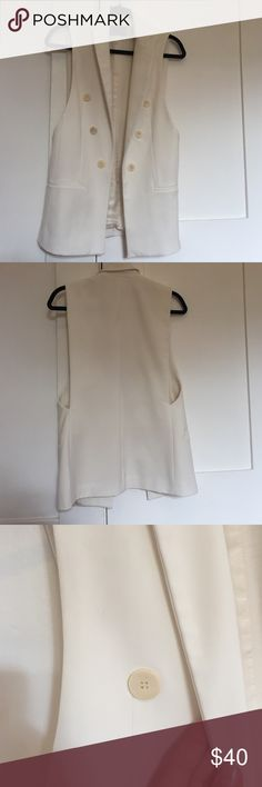 Zara White Vest Super cute white vest made out of thick, high quality material. Worn once but I don't need to dress up that often for work. Looks awesome over a dress or with jeans to dress up or dress down. Zara Jackets & Coats
