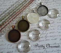 10 DIY Photo Pendant Kits with Trays, Glass and Chain - Choice of Colors. $15.00, via Etsy.