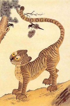 Minwha(Korean Folk art)-magpie and tiger by kimsingu