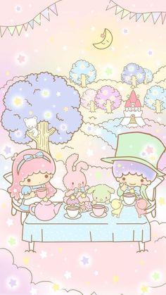 "'Little Twin Stars' in ""Alice in Wonderland"" (illustration courtesy of Sanrio) Sanrio Wallpaper, My Melody Wallpaper, Star Wallpaper, Hello Kitty Wallpaper, Kawaii Wallpaper, Cartoon Wallpaper, Iphone Wallpaper, Little Twin Stars, Kawaii Art"