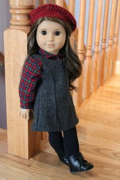 AG mix and match (Cargo Outfit shirt, School Jumper, Kit's Beret, Addy's Meet Boots) Sewing Doll Clothes, Crochet Doll Clothes, Girl Doll Clothes, Doll Clothes Patterns, Girl Dolls, Ag Dolls, Barbie Clothes, Doll Patterns, Dress Patterns