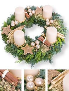 16 Awesome Ideas for DIY Christmas Decorations Art and Craft Christmas Advent Wreath, Outside Christmas Decorations, Handmade Christmas Decorations, Xmas Wreaths, Christmas Mood, Christmas Candles, Advent Wreath Candles, Rustic Christmas, Vintage Christmas