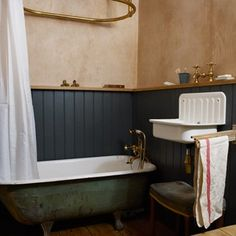 Discover bathroom design ideas on HOUSE - design, food and travel by House & Garden. Patrick Williams, of Berdoulat Design used salvaged finds and traditional techniques to imaginatively restore his bathroom. Upstairs Bathrooms, Small Bathroom, Master Bathroom, Oak Bathroom, Bathroom Ideas, Small Country Bathrooms, Cottage Bathrooms, Modern Bathrooms, Bathroom Colors