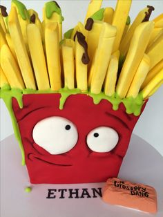 Grossery gang fungus fries 🍟 cake for Ethan.