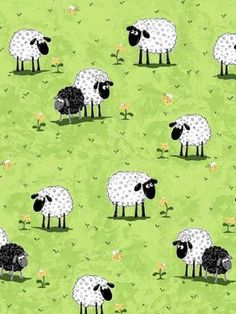 Fabric  Susybee  Lewe Sheep in Meadow  Green by PaperbarkCreations, $5 total