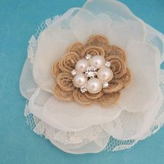 Rustic wedding Hair Flower  Burlap Lace and Organza by HARTfeltart, $34.00