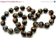 Chinese Cloisonne Bead Necklace Hand Knotted Black Vintage  Very nice hand knotted cloisonne floral bead necklace  Beads are large and