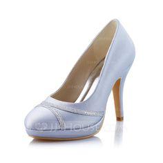 [US$ 52.99] Women's Satin Sparkling Glitter Stiletto Heel Closed Toe Pumps (047041574)
