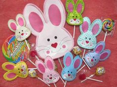 """Bunnies have never been sweeter. These little guys are made in a single hooping and are quick to stitch out. You can stitch out a batch of these guys in 5 different sizes, from a small one for regular strip suckers to a big 8""""x12"""" size one for those giant lollipops.  They come in the following"""