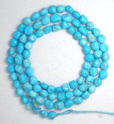Sleeping Beauty Turquoise  Beads 18 Inch Strand  Blue Gemstone Pebbles Lot # S21 #Erthart #Southwest
