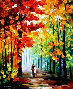 Morning In The Woods - PALETTE KNIFE Oil Painting On Canvas By Leonid Afremov by Leonid Afremov
