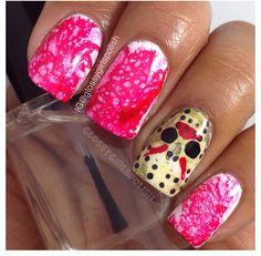Bloody nail art design. Jason Voorhees mask. Halloween inspired nails.