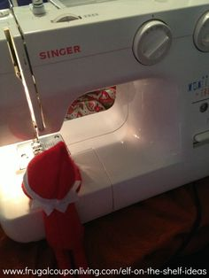 Dozens of Easy The Elf on The Shelf Ideas –  Elf Sews with the Singer Machine #elfontheshelf #elfontheshelfideas