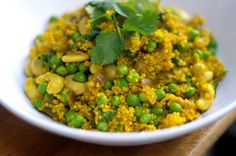 Curried Quinoa with Coriander and Cashews