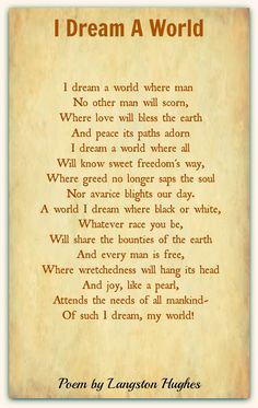 Langston Hughes- 'I Dream a World' - Best Book Recommendations 2019 English Poems For Children, English Love Poems, Kids Poems, English English, Famous English Poems, Poems By Famous Poets, Poetry Famous, Most Famous Poems, Poetry Classic