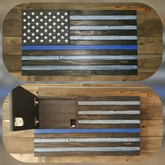 This Thin Blue Line Flag Concealed Gun Case is hand made from solid wood and measures 34x19x3.75. The hidden compartment is secured with a magnetic lock. The 10x13 compartment comes with customizable 2.25 layered gun foam. Several flag designs are available, we also take custom orders. Due to the hand painting of each item, no two flags will be the same. The perfect gift for that special officer in your life.  7-9 week production time as of 2/19/17  The In Stock # listed is a requir...