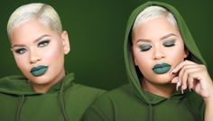 Fall Makeup Tutorial: Green AF ❘ Olive Green Smokey Eye + Green Lips! - YouTube