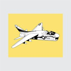 A-7S Corsair Art Print, 8x10 PRINTABLE, Attack Aircraft, Instant Download, Digital