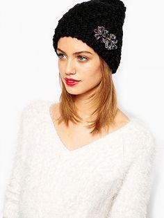Black Diamond Bead Knit Hat