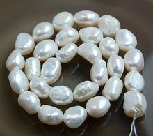 "9-13mm Natural White Pearl Fresh Water Baroque Nugget Beads 14"" Good Quality(China (Mainland))"