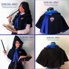 Harry Potter Costumes Ravenclaw Hogwarts - Harry Potter - Hooded Capelet by DarlingArmy - Harry Potter Diy, Harry Potter Cosplay, Harry Potter Halloween, Harry Potter Birthday, Harry Potter Characters, Ravenclaw, Avatar Cosplay, Hogwarts Uniform, Casual Cosplay