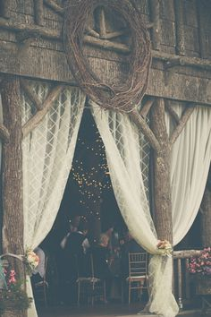 Rustic pavilion at The Eseeola Lodge (Linville Golf Club, NC) with curtains | Photography: The Shultzes | @Ruffled