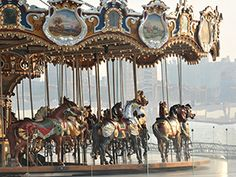 Built in 1922 by the Philadelphia Toboggan Company, the beautifully restored Janes's Carousel is located in Brooklyn Bridge Park and open year-round. Weekend In Nyc, Weekend Trips, Gotham, Janes Carousel, Brooklyn Bridge Park, Prospect Park, Collage, Merry Go Round, Creative