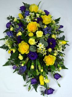 Send the gift of the freshest Spring Funeral Spray of Flowers. Our design team make every beautiful bouquet using only the freshest seasonal flowers and colours, in our floral design workshop in Bishops Stortford. Casket Flowers, Grave Flowers, Cemetery Flowers, Church Flowers, Funeral Spray Flowers, Funeral Sprays, Funeral Floral Arrangements, Large Flower Arrangements, Funeral Bouquet