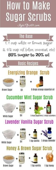 Amazing Remedies Learn how to make sugar scrubs from scratch. SO easy and SO cheap! - Learn how to make sugar scrubs at home by using the ratio. Use sugar to oil, and add in your favorite essential oils! Sugar Scrub Homemade, Sugar Scrub Recipe, Homemade Soaps, Homemade Body Scrubs, Body Scrub Recipe, Homemade Exfoliating Scrub, Homemade Hair, Homemade Crafts, Diy Cosmetic