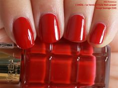L'Oréal Le Vernis à l'Huile Nail Lacquer in Rouge Sauvage (swatch by fivezero.ca) [red]