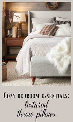 Obsessed with the look of the fuzzy/sweater throw pillows for winter #target #affiliate #bedroominspiration
