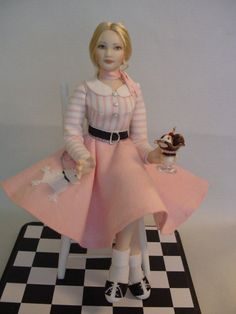 Porcelain Dollhouse Doll - Teenage girl in poodle skirt by Debbie Dixon-Paver