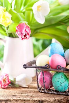 Easter party suggestions: host an Easter egg decorating party, or an Easter craft party, or an Easter brunch buffet, or organize an Easter cookie swap.