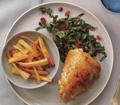 Chicken Thighs with Honey-Roasted Parsnips and Collards recipe