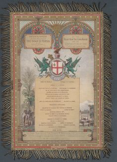 In 1873, Queen Victoria was persuaded by the Government to welcome the Shah of Persia as her guest. During his two-week visit, the Shah met the Queen on three occasions at Windsor, and despite her initial concerns she found herself delighted by his company.  This highly-decorated menu is for a banquet held in honour of the Shah at the Guildhall by the Lord Mayor of London on 20 June 1873.              Supplied by Royal Archives  © HM Queen Elizabeth II 2012