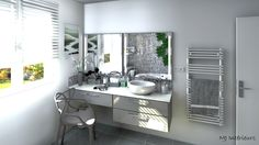 Salle de bain esprit spa avec de la mosaïque en nuances de gris