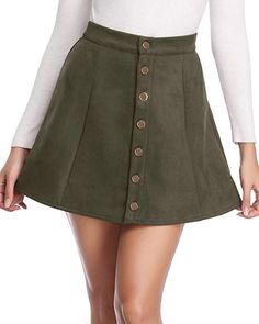 46689ad9df Fuinloth Women's Faux Suede Button Closure A-Line Mini Short Skirt for New  Year 2019