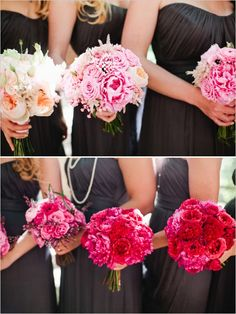 ombre pink bridesmaid bouquets http://www.weddingchicks.com/2013/09/23/rustic-pink-wedding-2/