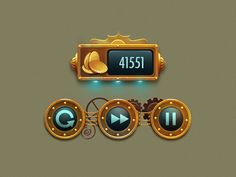 Steampunk HUD - fragments designed by Vasili Tkach. Connect with them on Dribbble; Game Gui, Game Icon, Mars One, Game Ui Design, Icon Design, Ux Design, Pirate Games, 2d Game Art, Button Game
