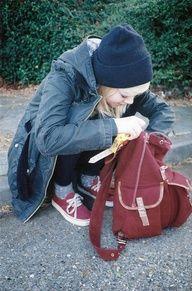 coat. comfy socks. beanie. backpack.