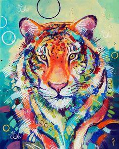 """Tigre coloré – Original coloré traditionnel peinture acrylique sur papier 16 """"x 20 Colorful Animal Paintings, Colorful Artwork, Colorful Animals, Abstract Animals, Watercolor Tiger, Tiger Painting, Tiger Drawing, Tattoo Watercolor, Big Cats Art"""
