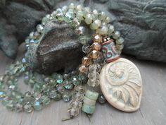 by Sheri Mallery, handmade porcelain pendant.  slahsKnots  Long boho knotted necklace  Whisper  pale green by slashKnots