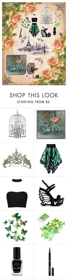 """French Butterfly Garden"" by phoenix-ufacika ❤ liked on Polyvore featuring Crystorama, Green Leaf Art, Michelin, Barry M, L'Oréal Paris and Swarovski"