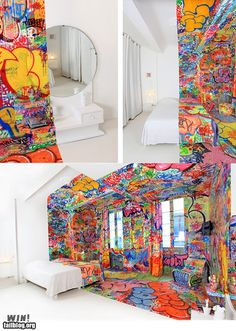 Graffiti Room at the Hotel Au Vieux Panier in Marseilles, decorated by French street artist Tilt.