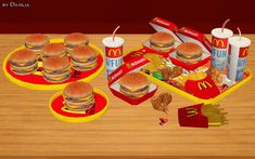ModTheSims - McDonald's Deco Food Set (*8 New Meshes*)